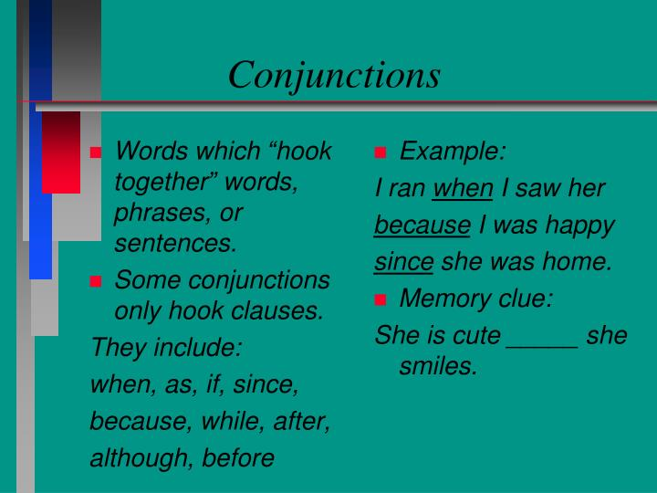 "Words which ""hook together"" words, phrases, or sentences."