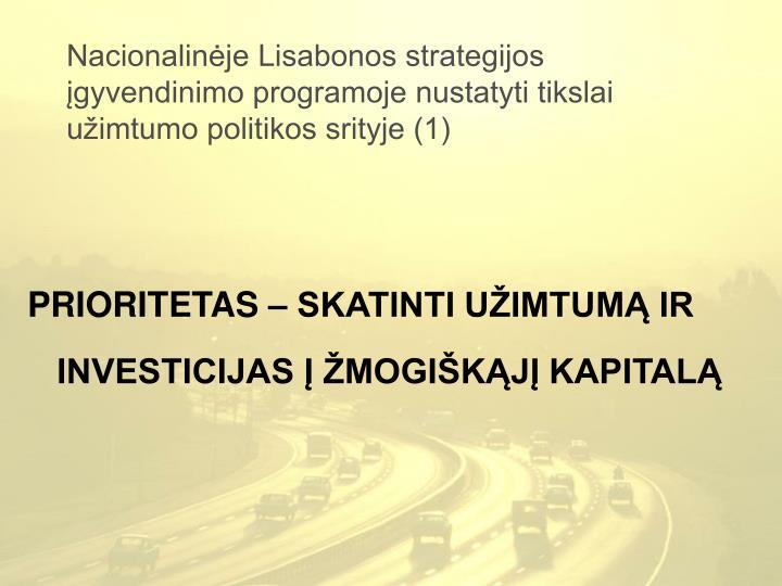 Nacionalinėje Lisabonos strategijos įgyvendinimo programoje nustatyti tikslai užimtumo politikos srityje (1)