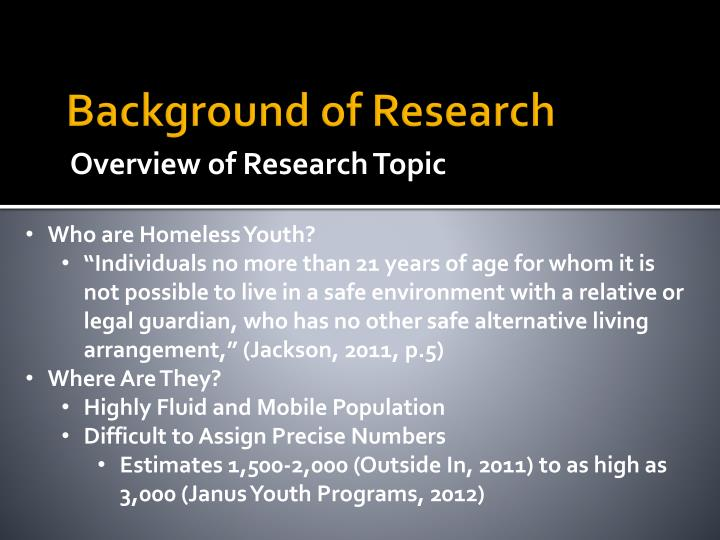 Background of research