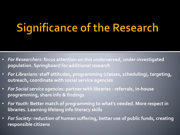 Significance of the Research