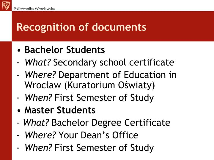 Recognition of documents