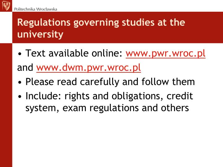 Regulations governing studies at the university