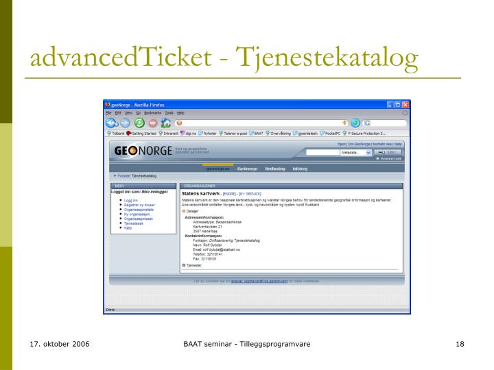 advancedTicket - Tjenestekatalog