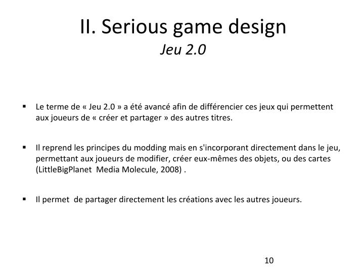 II. Serious game design