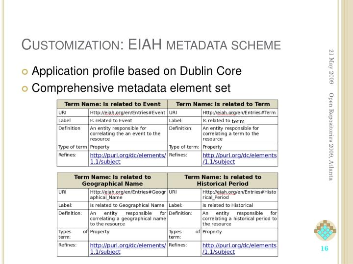 Customization: EIAH metadata scheme