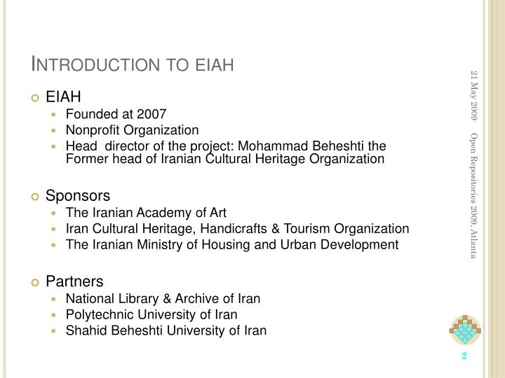 Introduction to eiah