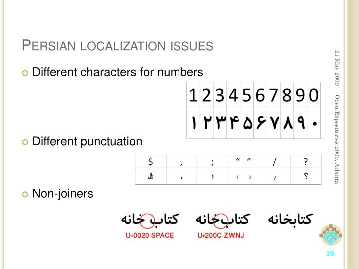 Persian localization issues