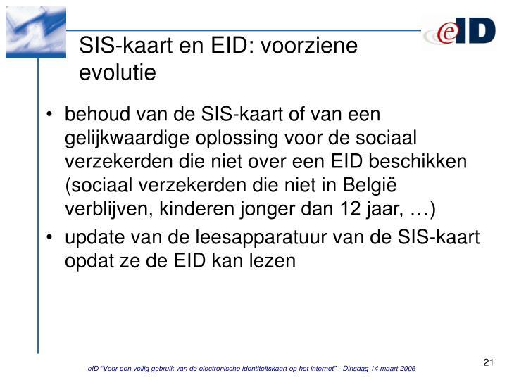 SIS-kaart en EID: voorziene evolutie