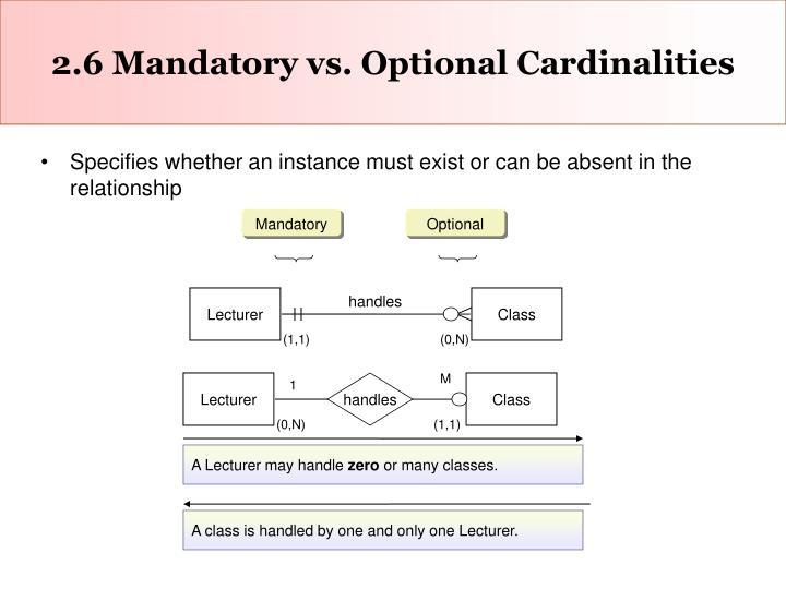 2.6 Mandatory vs. Optional Cardinalities