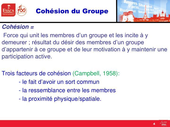 Cohésion du Groupe