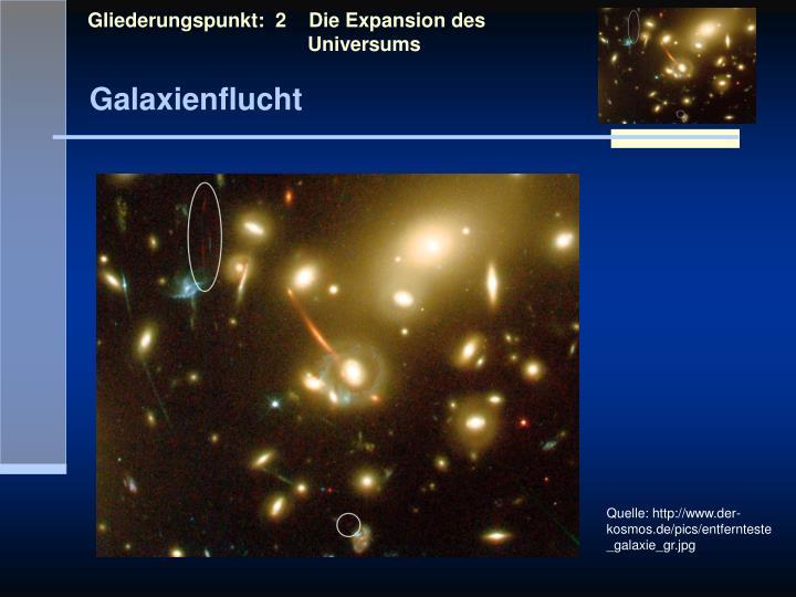 Gliederungspunkt:  2    Die Expansion des            Universums