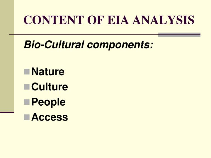 CONTENT OF EIA ANALYSIS