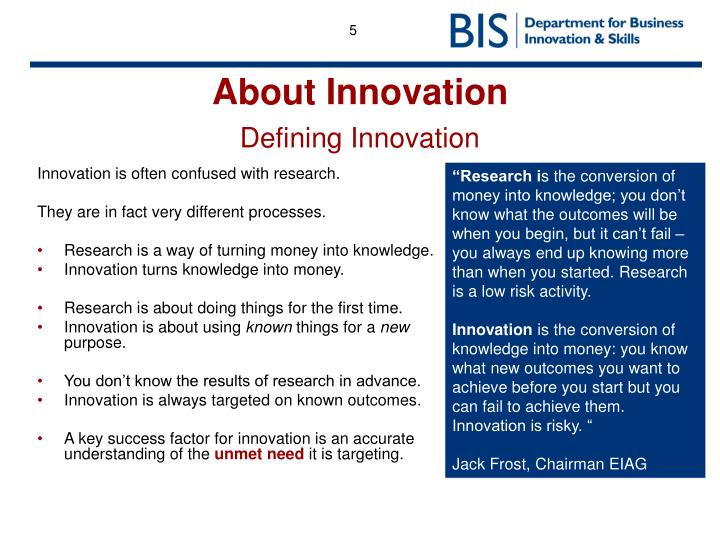 Innovation is often confused with research.