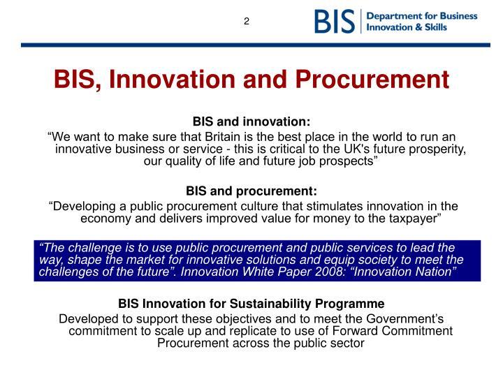BIS, Innovation and Procurement