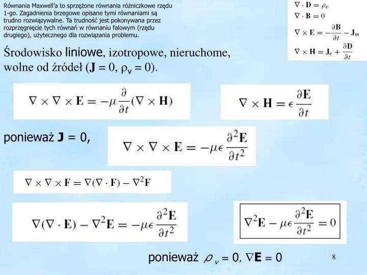 Równania Maxwell'a to sprzężone równania różniczkowe rzędu 1-go. Zagadnienia brzegowe opisane tymi równaniami są trudno rozwiązywalne. Ta trudność jest pokonywana przez rozprzęgnięcie tych równań w równaniu falowym (rzędu drugiego), użytecznego dla rozwiązania problemu.