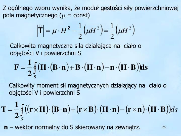 Z ogólnego wzoru wynika, że moduł gęstości siły powierzchniowej pola magnetycznego (