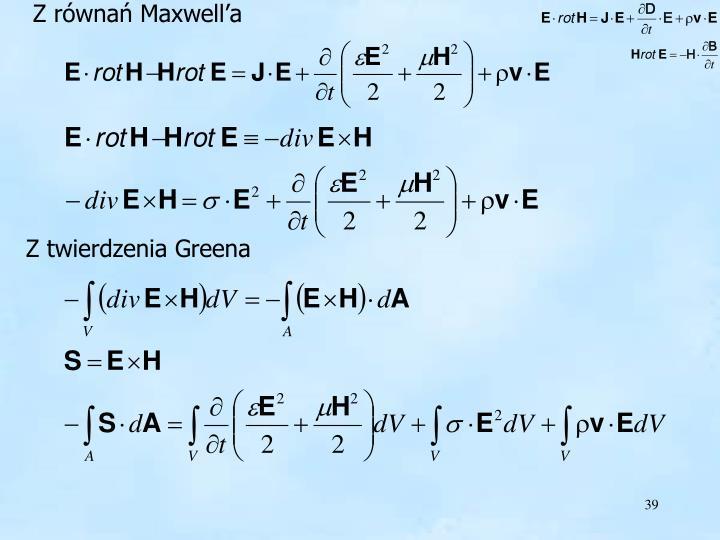 Z równań Maxwell'a