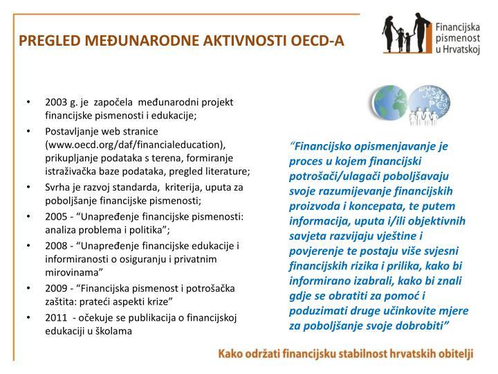 PREGLED MEĐUNARODNE AKTIVNOSTI OECD-A