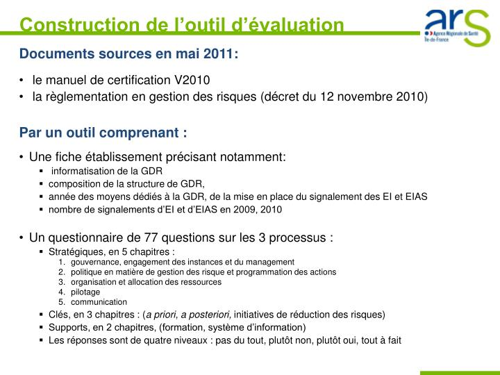 Construction de l outil d valuation