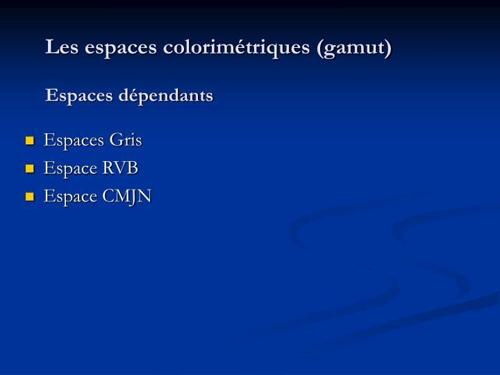 Les espaces colorimétriques (gamut)