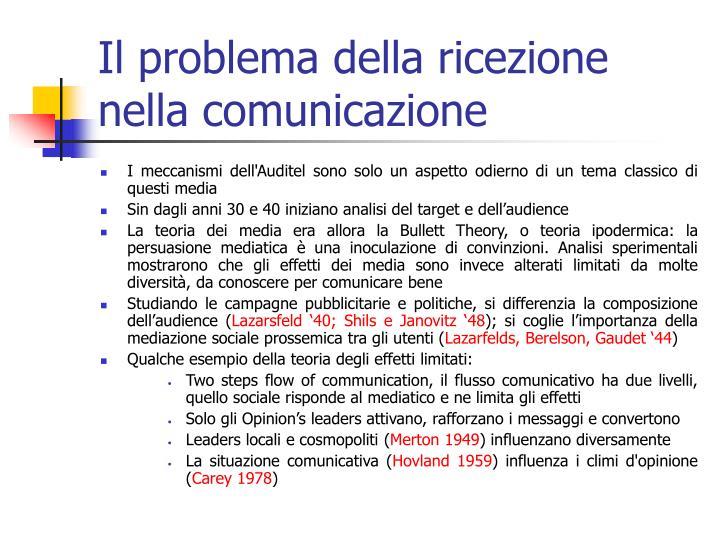 Il problema della ricezione nella comunicazione