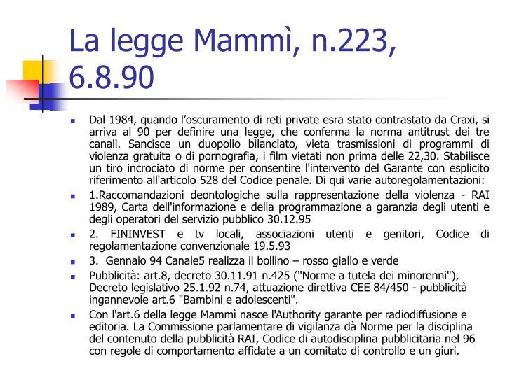 La legge Mammì, n.223, 6.8.90