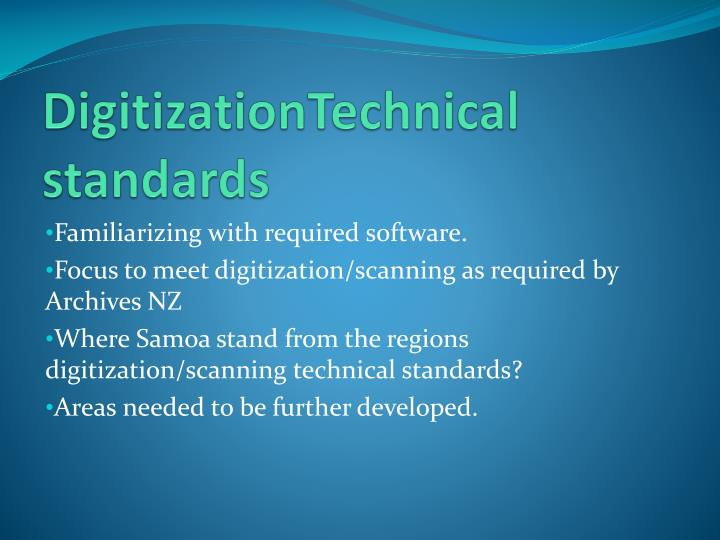 DigitizationTechnical standards