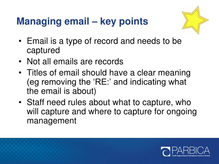 Managing email – key points