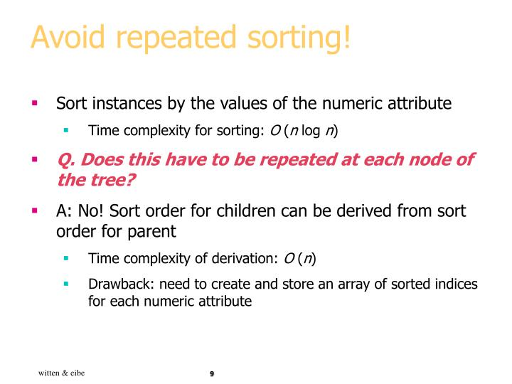 Avoid repeated sorting!