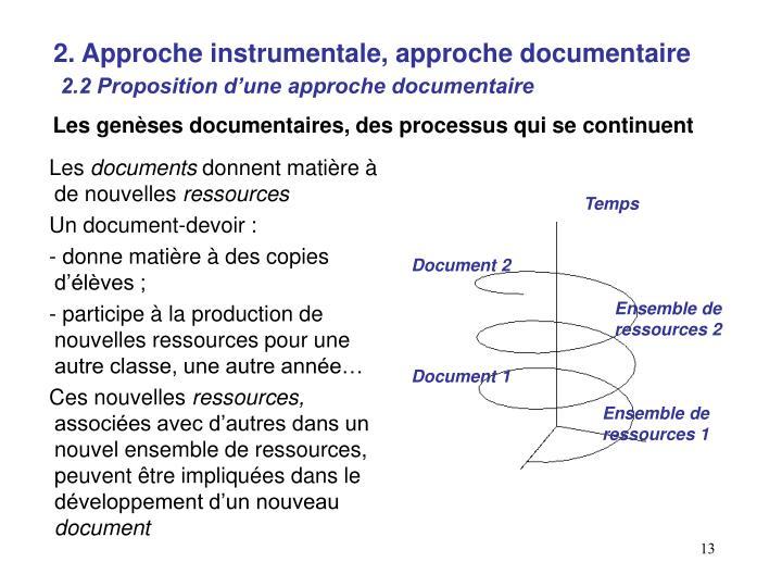 2. Approche instrumentale, approche documentaire