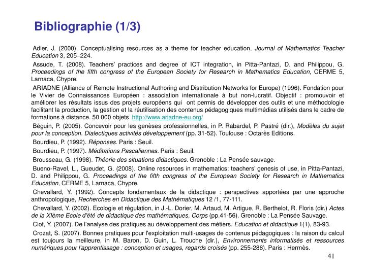 Bibliographie (1/3)