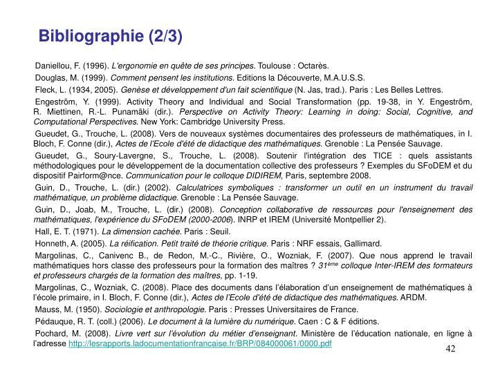 Bibliographie (2/3)
