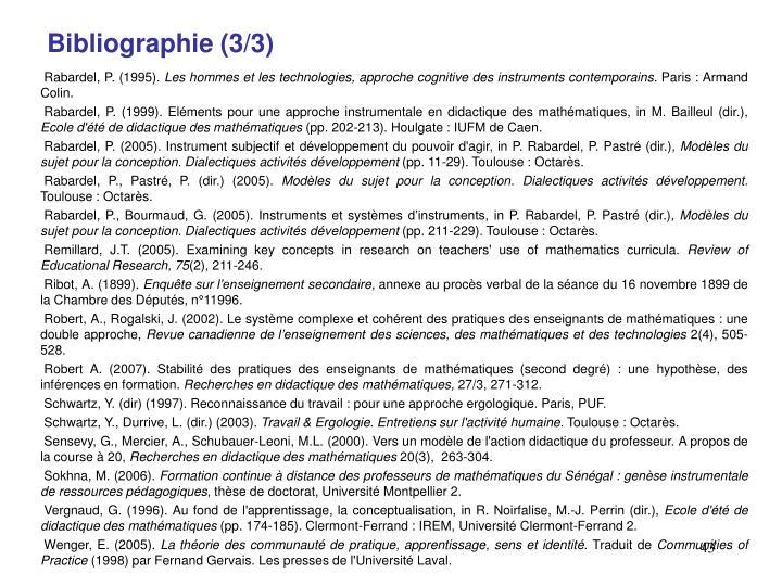 Bibliographie (3/3)