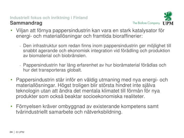 Industriell fokus och inriktning i Finland