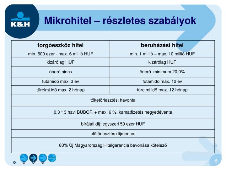 Mikrohitel – részletes szabályok