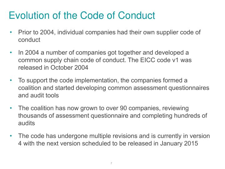 Evolution of the Code of Conduct