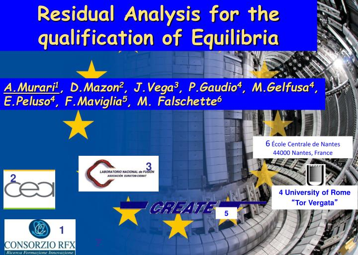 Residual Analysis for the qualification of Equilibria