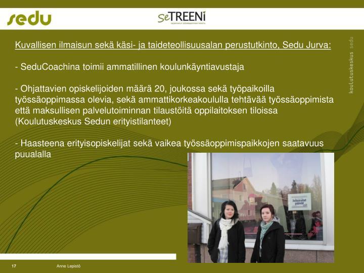 Kuvallisen ilmaisun sekä käsi- ja taideteollisuusalan perustutkinto, Sedu Jurva: