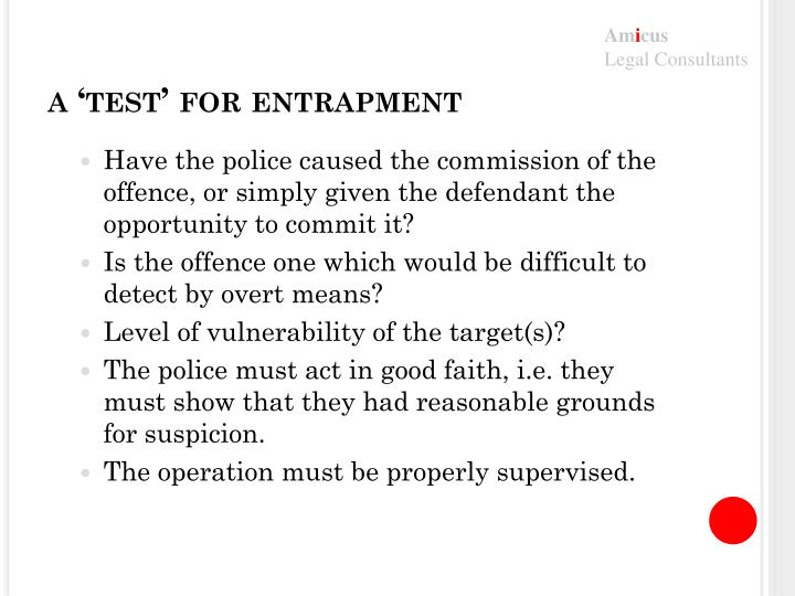 a 'test' for entrapment