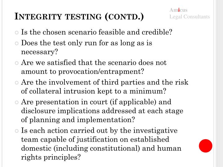 Integrity testing (contd.)