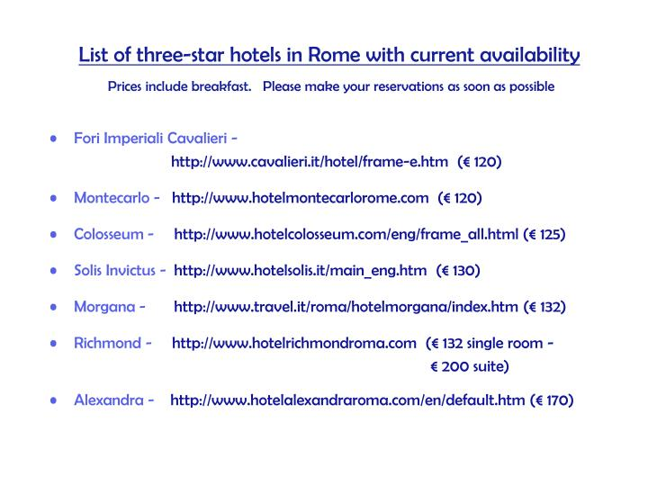 List of three-star hotels in Rome with current availability