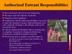 authorized entrant responsibilities