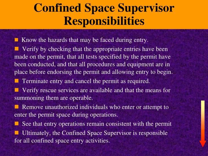 Confined Space Supervisor Responsibilities