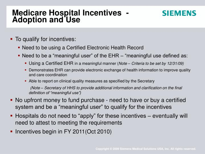 Medicare Hospital Incentives  - Adoption and Use