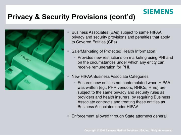 Privacy & Security Provisions (cont'd)