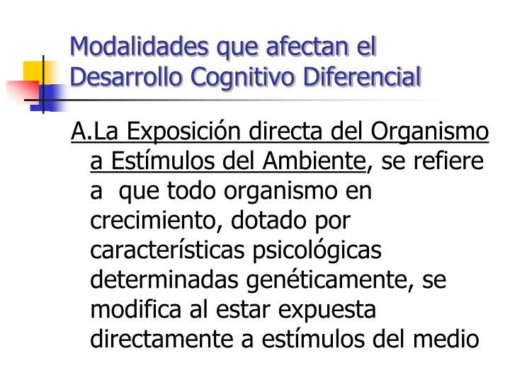 Modalidades que afectan el Desarrollo Cognitivo Diferencial
