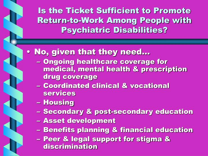 Is the Ticket Sufficient to Promote Return-to-Work Among People with Psychiatric Disabilities?