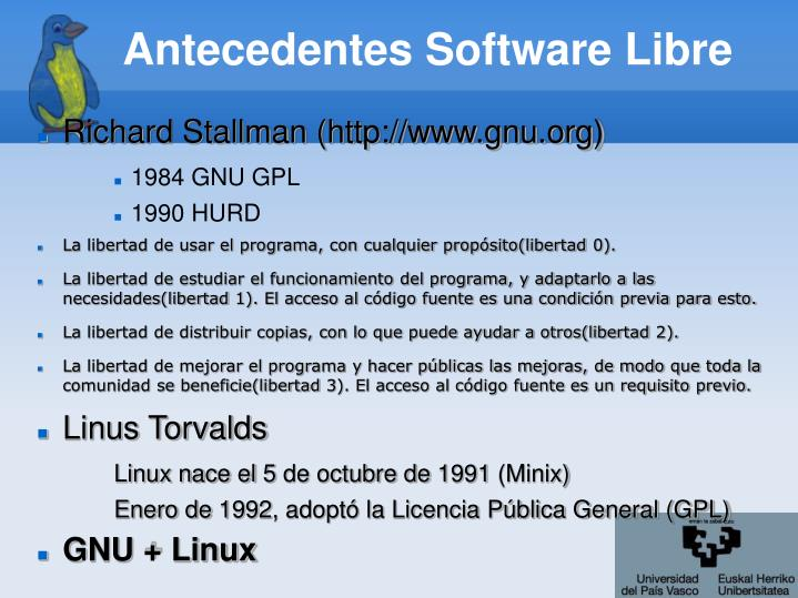 Antecedentes software libre