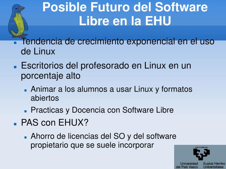 Posible Futuro del Software Libre en la EHU