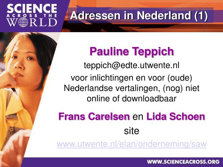 Adressen in Nederland (1)